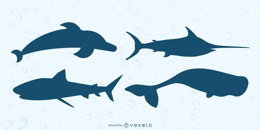Sea Animals Silhouette Set