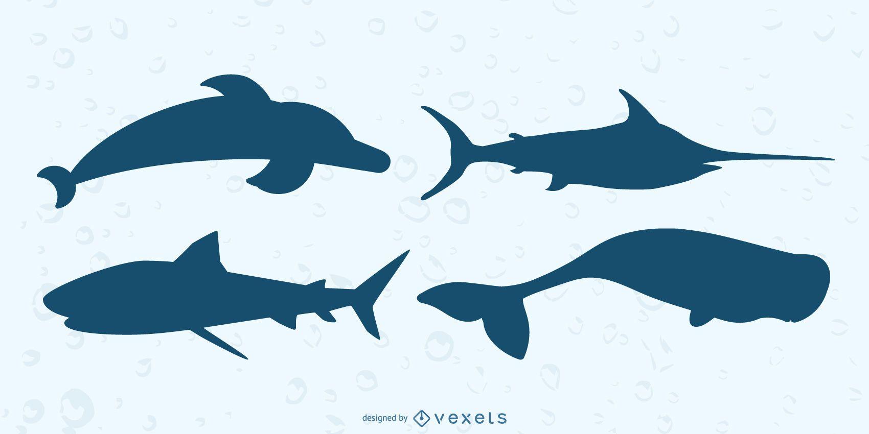 Conjunto de silueta de animales marinos