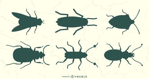 Insect Top View Silhouete Set