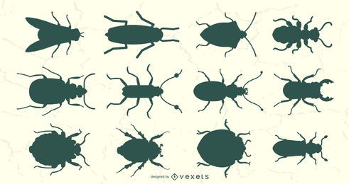 Conjunto de siluetas de vista superior de insectos