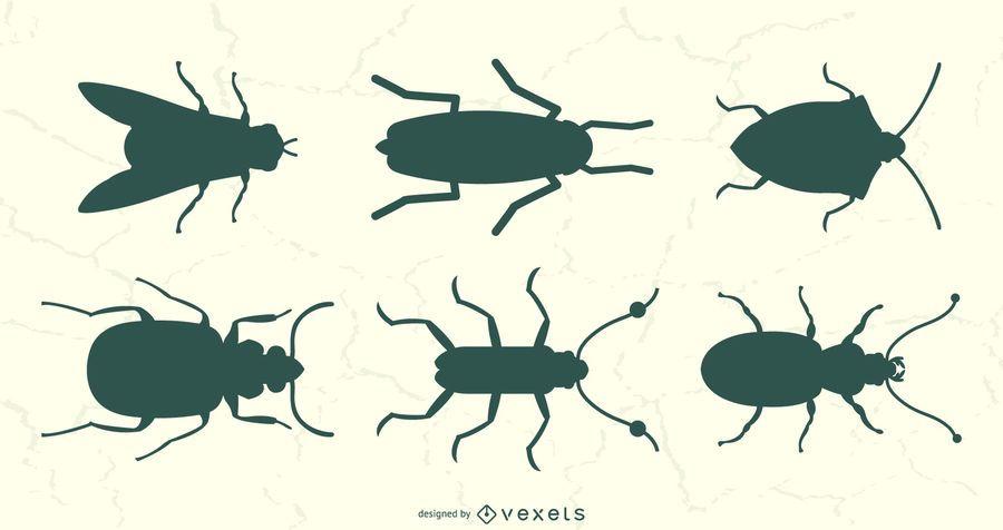 Conjunto de Silhouete de vista superior de insetos