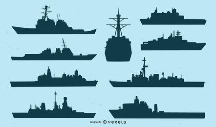 Conjunto de silhueta de navio da Marinha