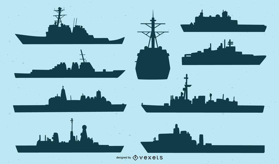 Conjunto de silueta de barco azul marino
