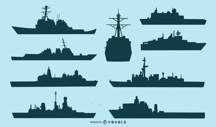 Navy Ship Silhouette Set