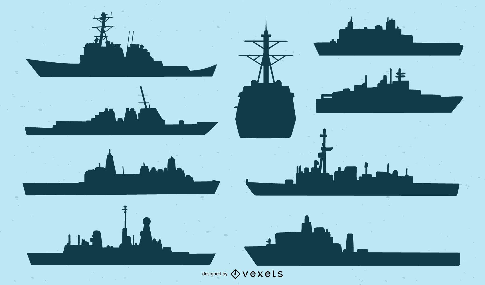 Conjunto de silueta de barco de la Marina