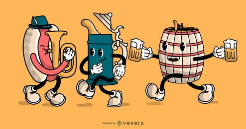 Personajes de dibujos animados del Oktoberfest