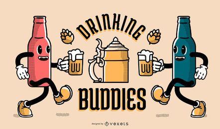 Oktoberfest banner de amigos bebiendo