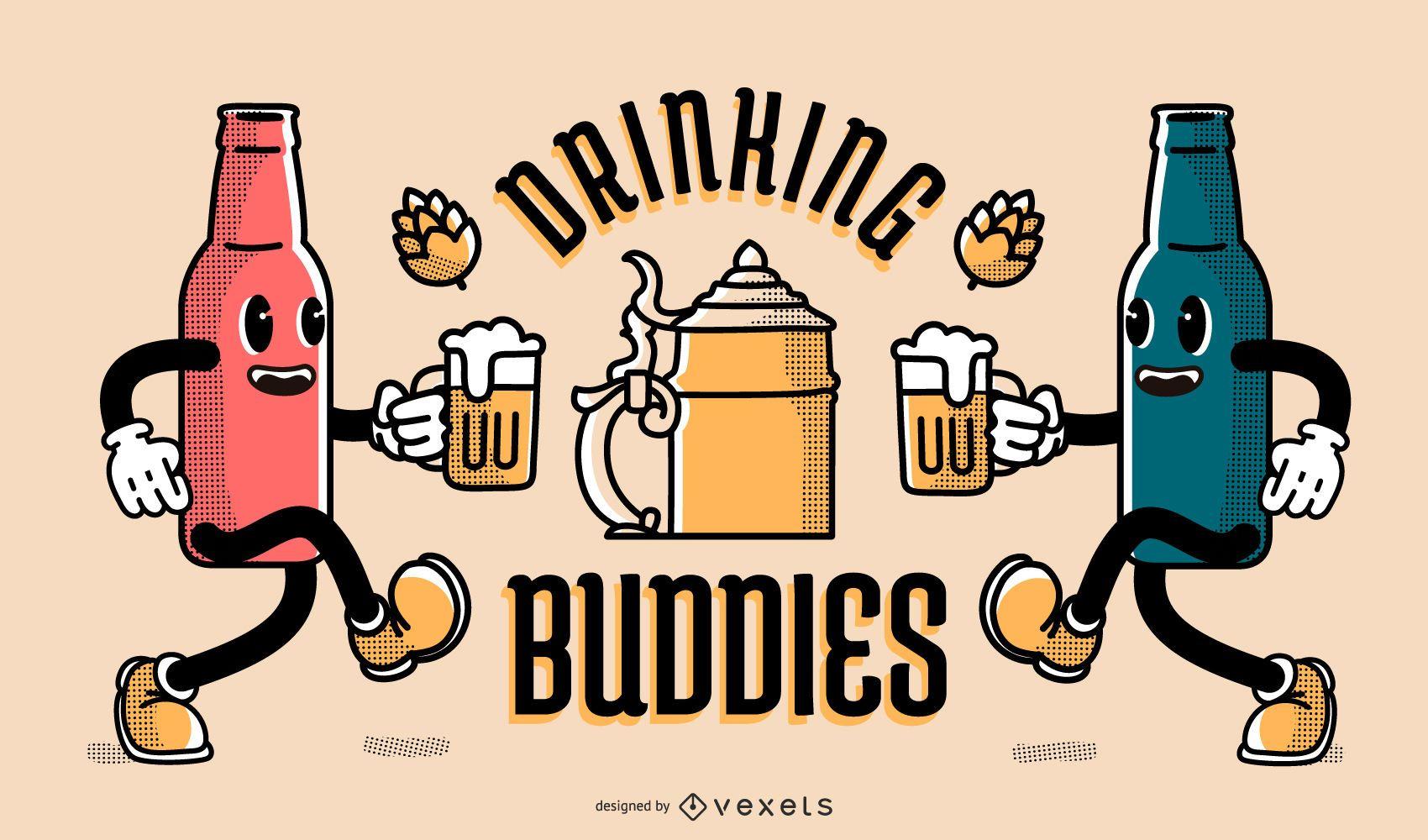 Banner de amigos bebiendo de Oktoberfest