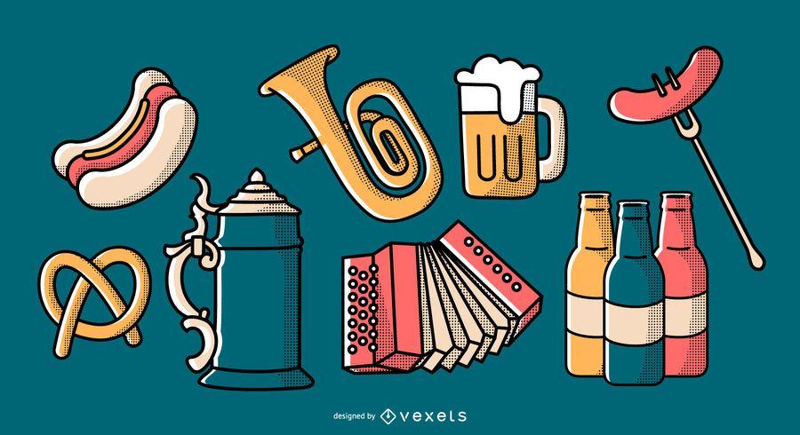 Conjunto de elementos de desenhos animados da Oktoberfest