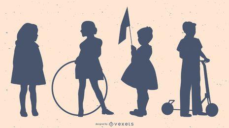 Conjunto de silhueta de crianças de estilo antigo