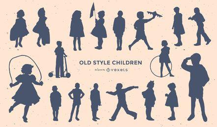 Conjunto de silueta de niños de estilo antiguo