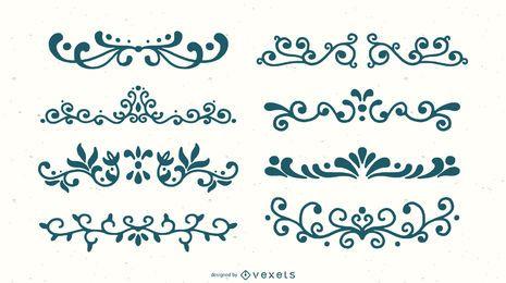 Conjunto de silhueta de ornamento de redemoinho