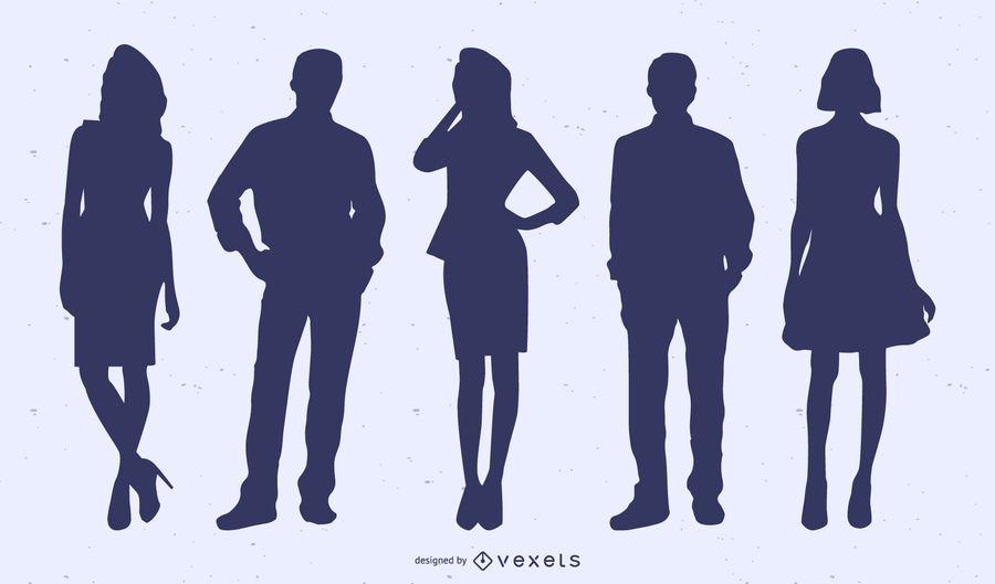 Conjunto de silueta de gente de negocios