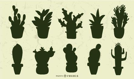 Conjunto de silhueta suculenta