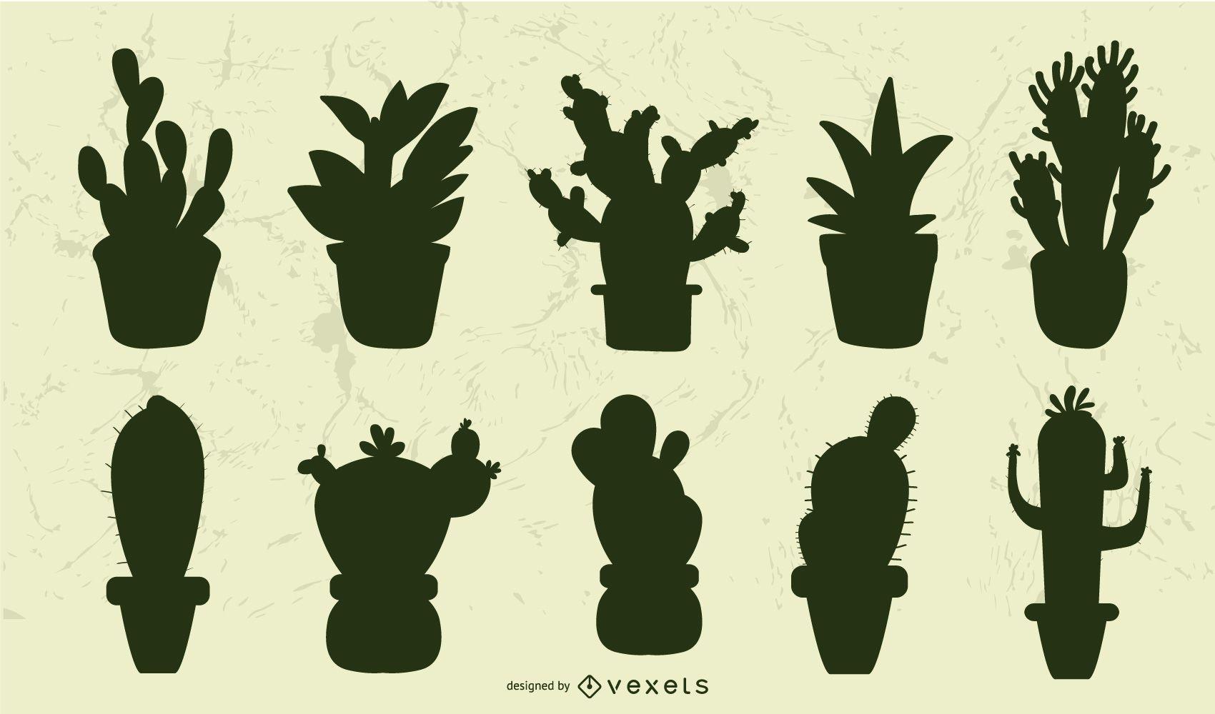 Succulent silhouette set