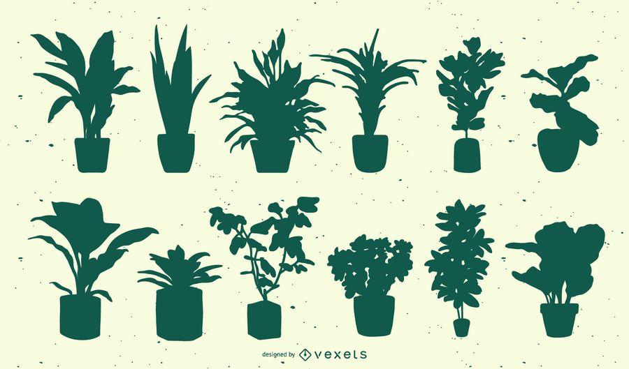 Plants silhouette set