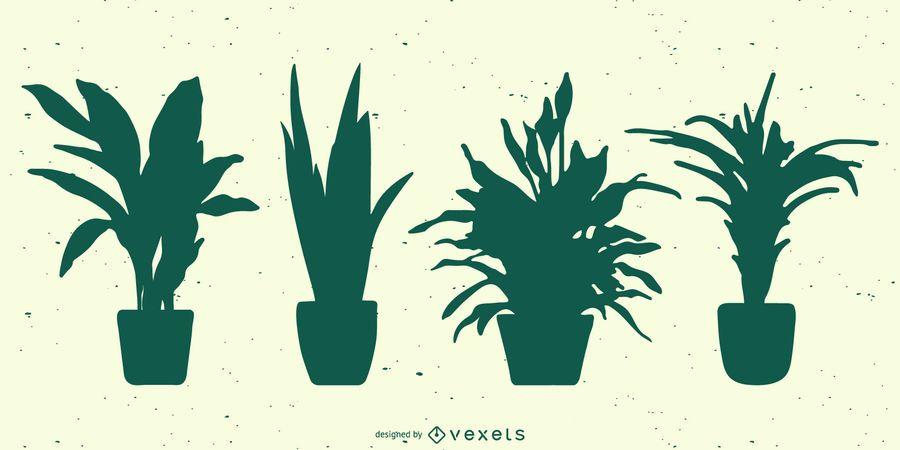 Plants silhouette set