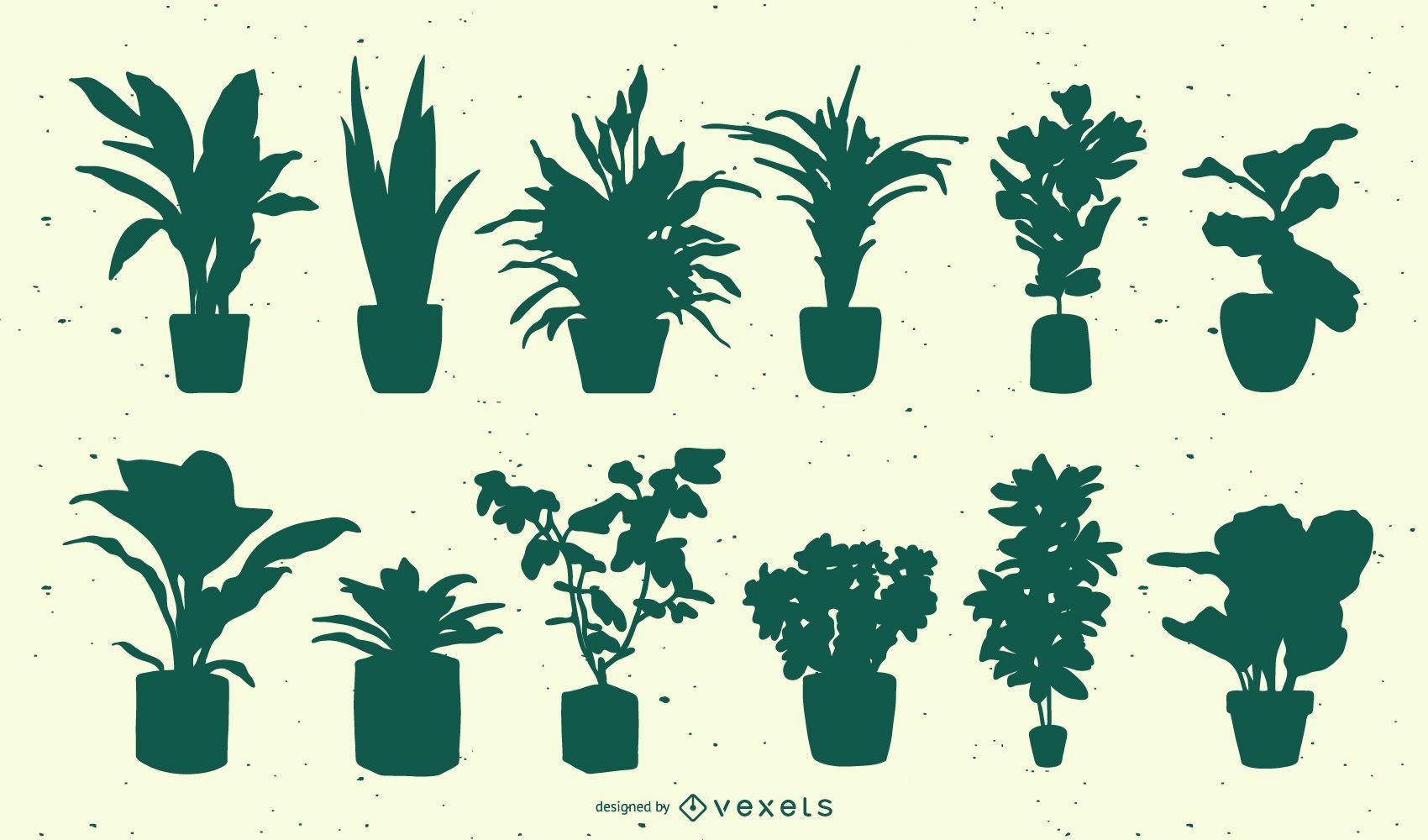 Conjunto de silueta de plantas
