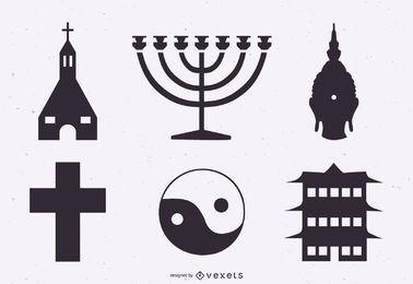 Conjunto de silhueta de símbolos de religião
