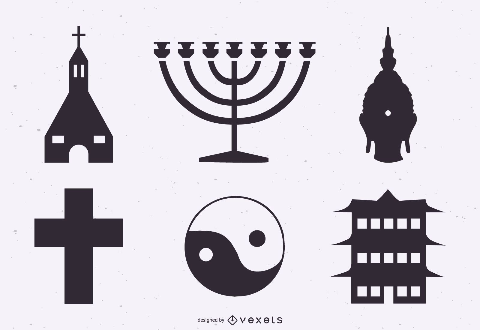 Conjunto de silueta de símbolos de religión