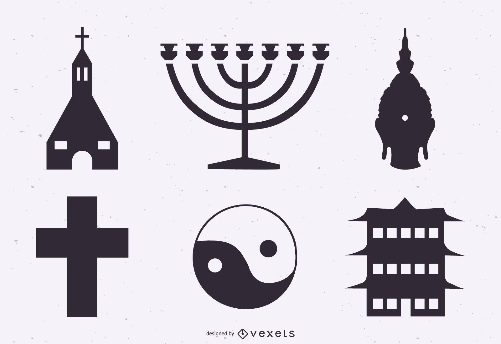 Religion symbols silhouette set