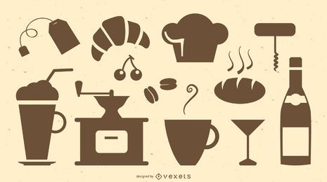 Conjunto de silhueta de restaurante e café