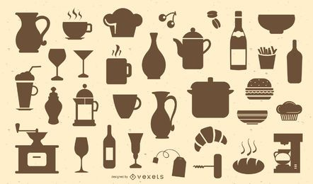 Restaurant- und Caféschattenbildsatz