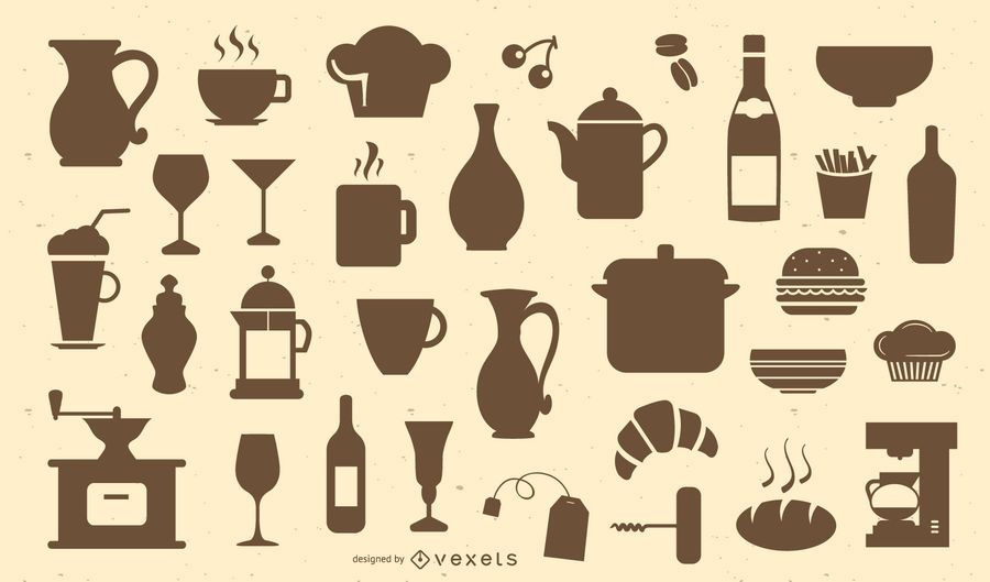 Restaurant and cafe silhouette set