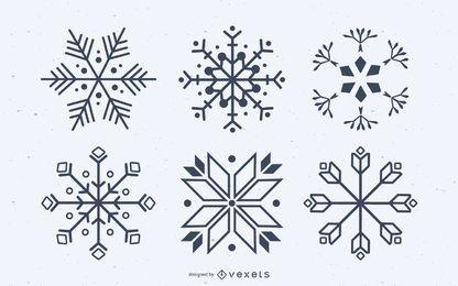 Conjunto de vectores de siluetas de copo de nieve
