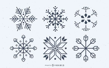 Snowflake silhouettes vector set