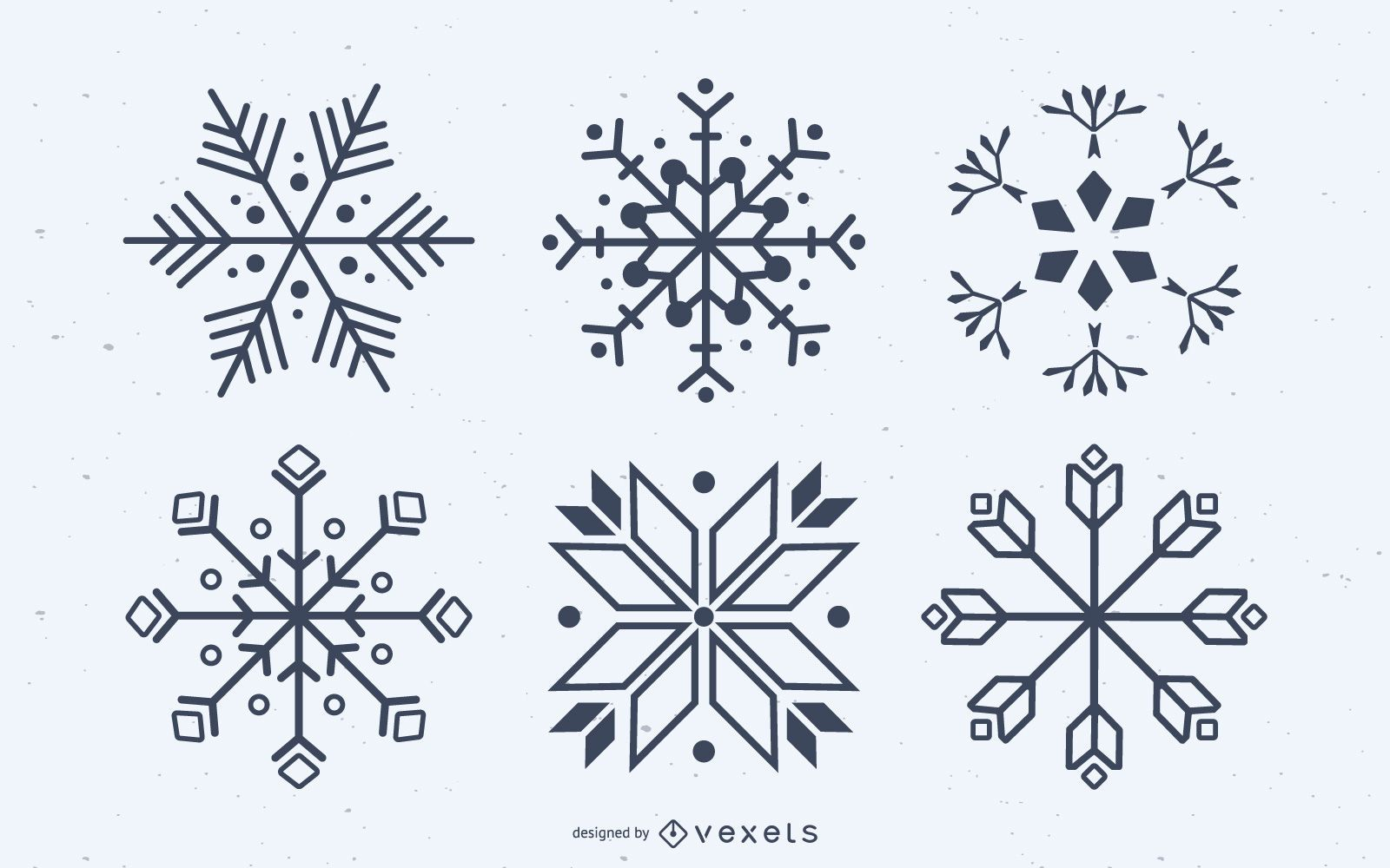 Snowflake silhouettes vector set
