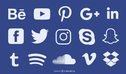 Conjunto de ícones de silhueta de mídia social