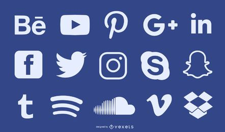 Social media silhouette icon set