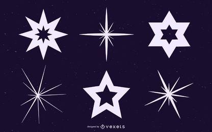 Conjunto de siluetas de estrellas y destellos