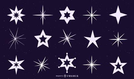 Conjunto de siluetas de estrellas y brillos
