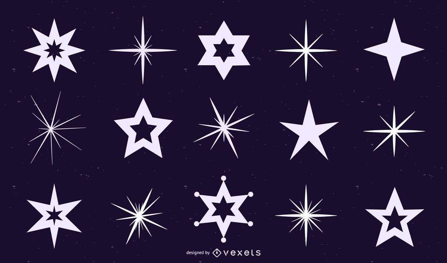 Conjunto de silhuetas de estrelas e brilho