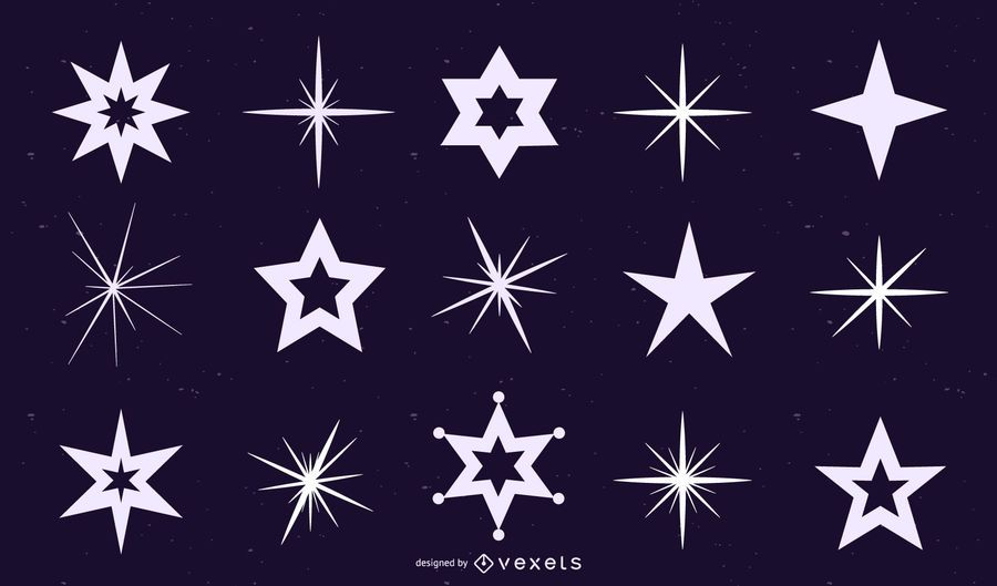 Star and sparkle silhouettes set