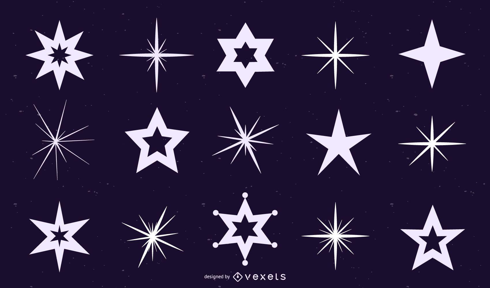 Conjunto de silhuetas de estrelas e cintilantes