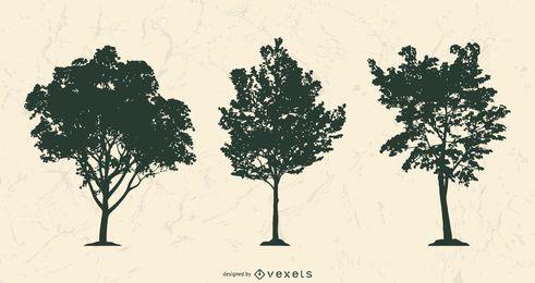 Conjunto de silhuetas de árvore realista