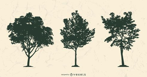 Realistic tree silhouettes set