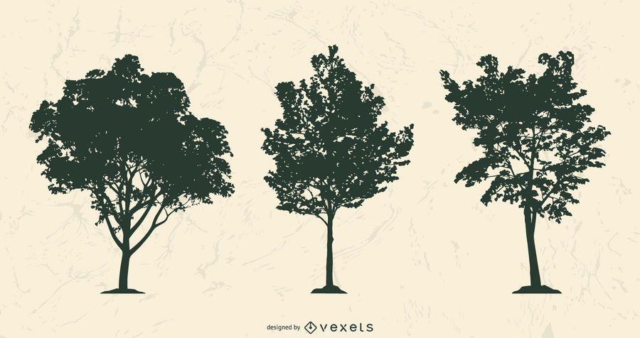 Realistic tree silhouettes set