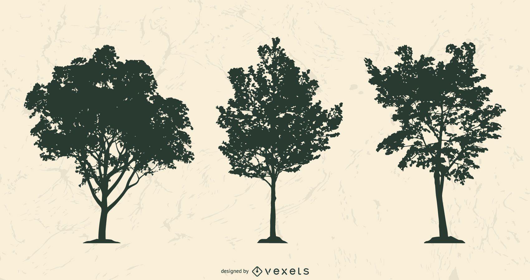 Conjunto de silhuetas de árvores realistas