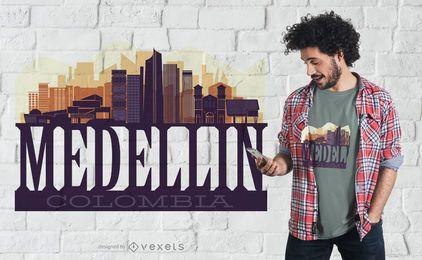 Projeto do t-shirt da skyline de Medellin Colômbia