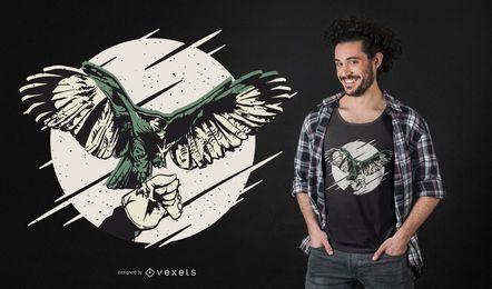 Projeto do t-shirt do falcão da falcoaria