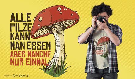 Projeto alemão do t-shirt das citações do cogumelo