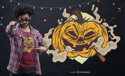 Rauchender Kürbis-T-Shirt Entwurf