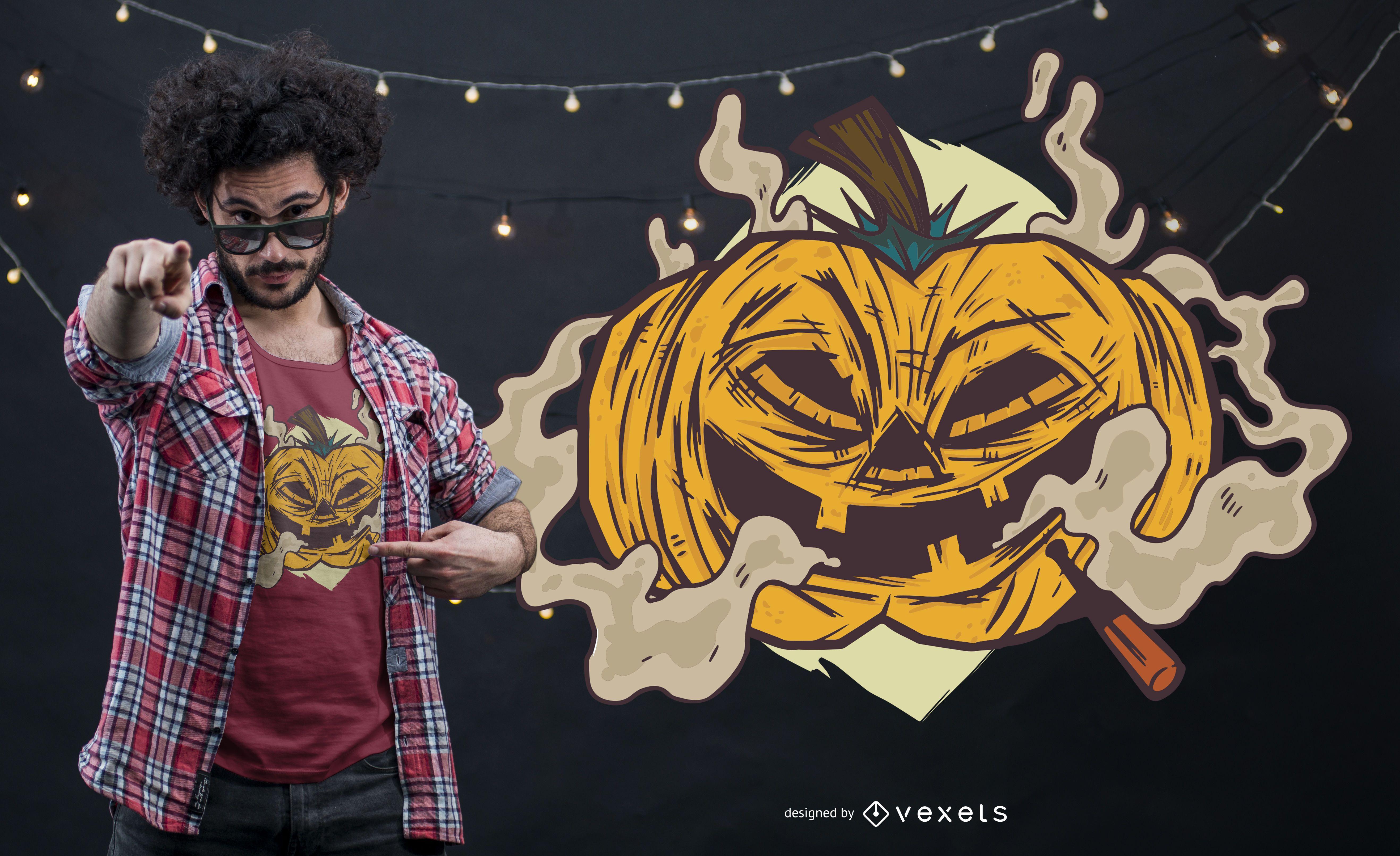Smoking Pumplkin T-shirt Design
