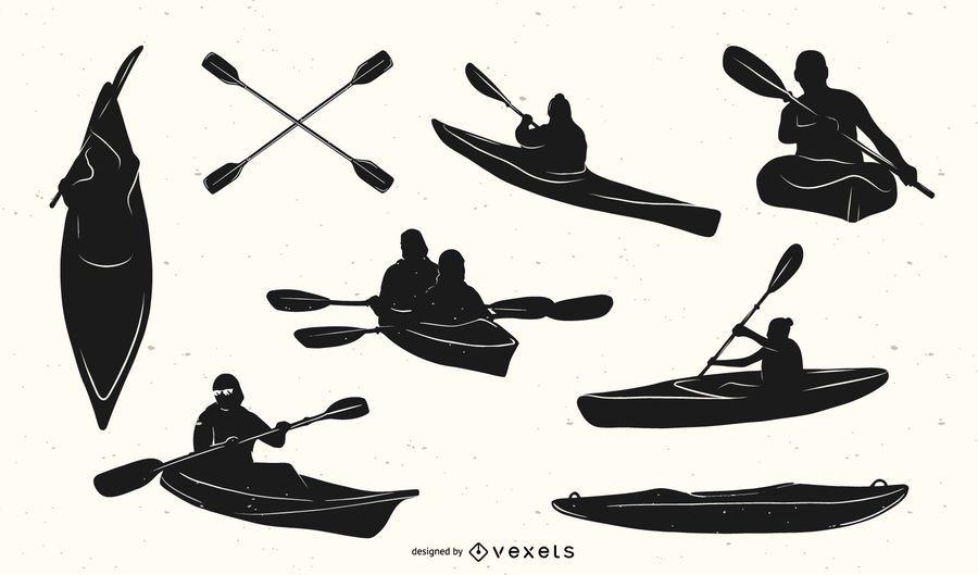 Kayak Elements Silhouette Set