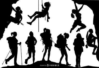Conjunto de silhueta de pessoas caminhante e alpinista