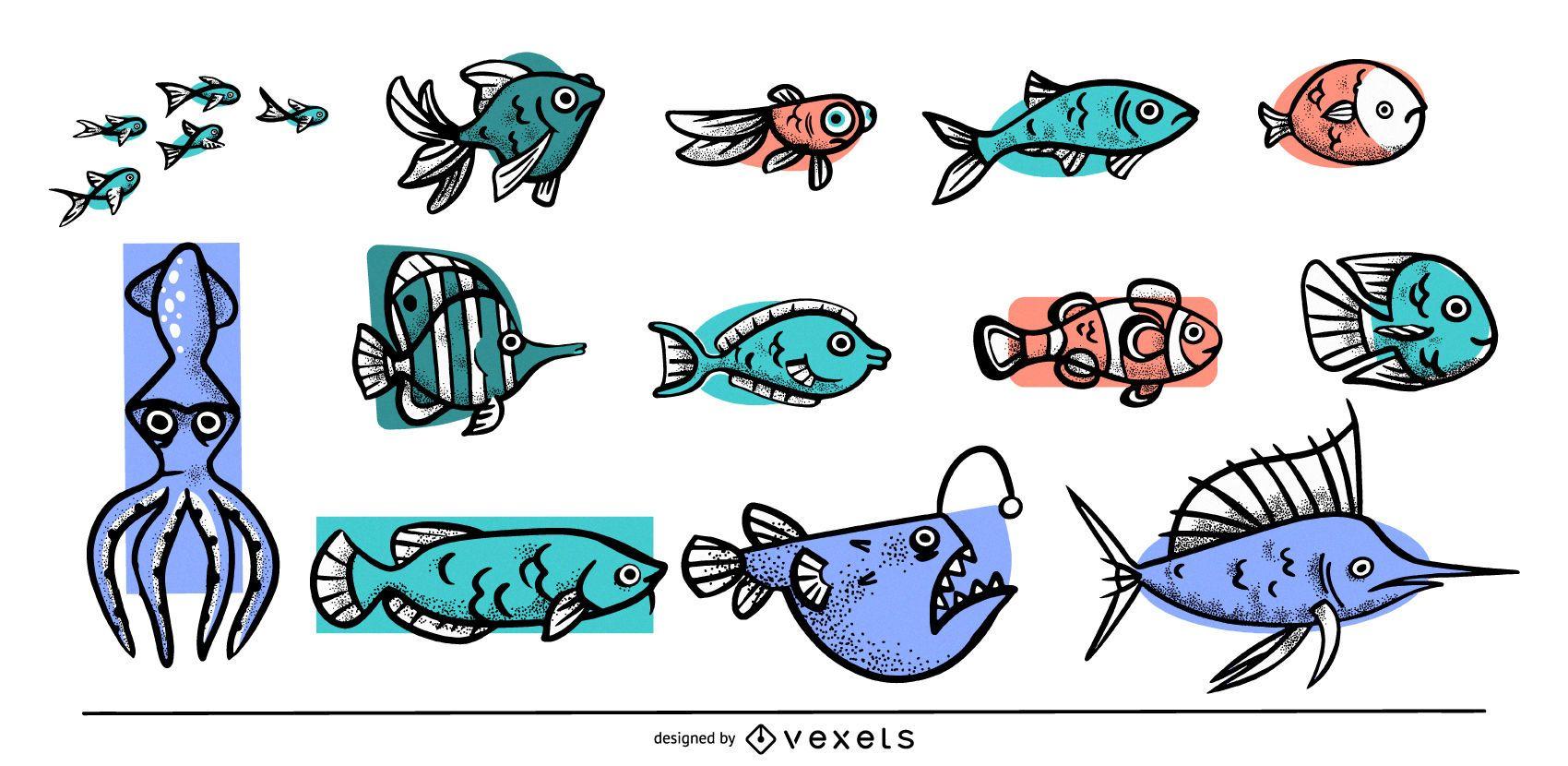 Colección de peces de colores
